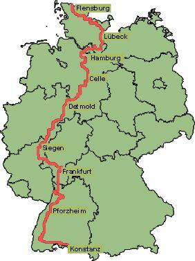 Het parkoers van de Europäischer Fernwanderweg E1 door Duitsland