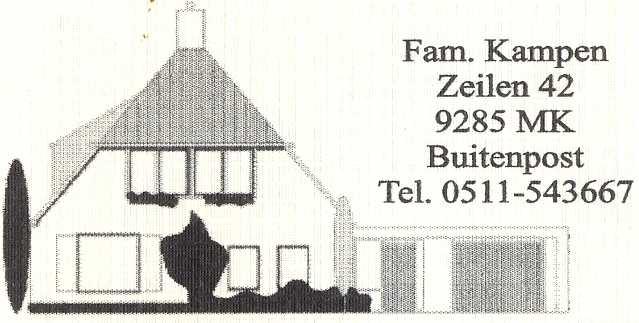 Bêd en Brochje. familie Kampen,  Zeilen 42,  9285 MK Buitenpost,  telefoon 0511-543667
