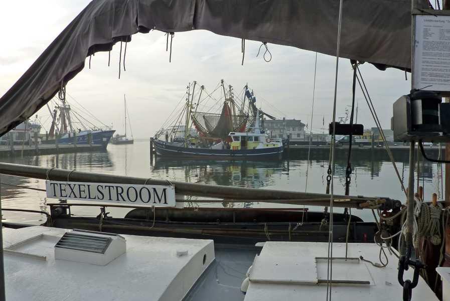de marathon van Texel  de haven van Oudeschild