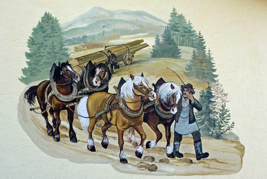Pandurensteig  muurschildering in Rinchnach