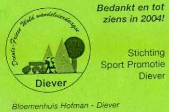 Kaartje, dat zat aan de roos die elke wandelaar kreeg na afloop van de Drents Friese Wold Wandelvierdaagse 2003