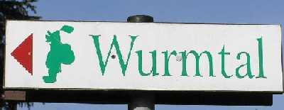 tijdens de Europäischer Fernwanderweg E8, wegwijzer naar het Wurmtal