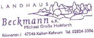 tijdens de Europäischer Fernwanderweg E8, stempel van Landhaus Beckmann te Kehrum (Kalkar)