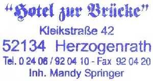tijdens de Europäischer Fernwanderweg E8, stempel van Hotel zur Brücke te Herzogenrath