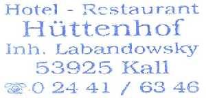 tijdens de Europäischer Fernwanderweg E8. stempel hotel restaurant Hüttenhof te Kall