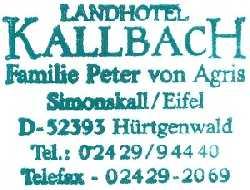 tijdens de Europäischer Fernwanderweg E8, stempel van ons overnachtinghotel Kallbach te Simonskall/Hürtgenwald