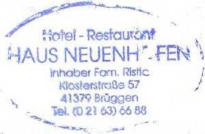 tijdens de Europäischer Fernwanderweg E8, stempel van het overnachtingadres Haus Neuenhofen