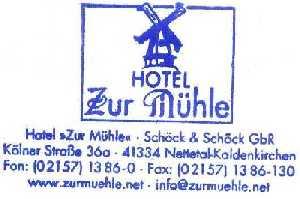 tijdens de Europäischer Fernwanderweg E8, stempel van het overnachtingadres te Kaldenkirchen te weten Hotel Zur Mühle