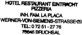 Hotel restaurant Eintracht pizzeria, overnachtingsadres te Bruchsal