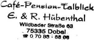 Cafe Pension Talblick, overnachtingsadres te Dobel