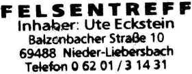 Felsentreff, ons restaurant te Nieder-Liebersbach