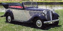 zo zag een B.M.W.-personenauto cabriolet eruit, waarin de Hogere S.S. und Polizeif�hrer Hans Albin Rauter, zijn chauffeur en de Oberleutnant Exner zaten
