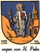 Dit is het wapen van Sint Pieter. Dit wapen is te vinden op de lokatie www.ngw.nl/indexgb.htm  Deze site is mogelijk gemaakt door de Bank Nederlandse Gemeente te Den Haag