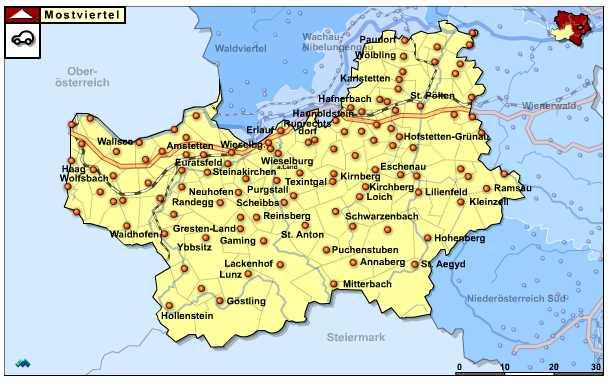 Niederösterreich - Mostviertel overzichtskaart