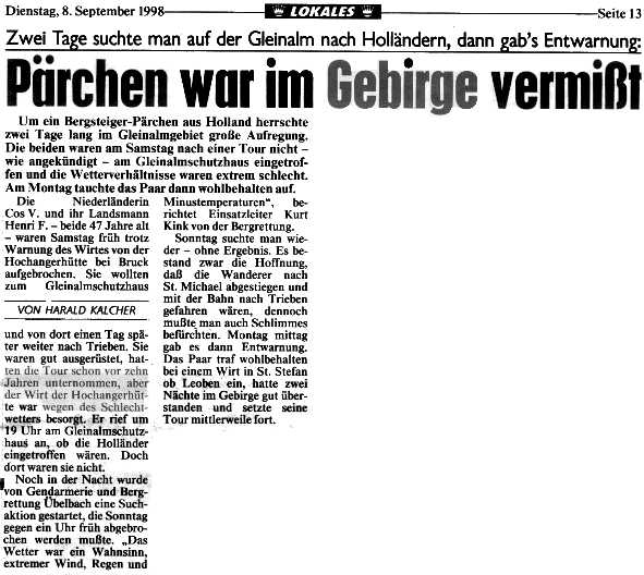 Aankondiging in de Neue Kronen Zeitung dat we vermist waren