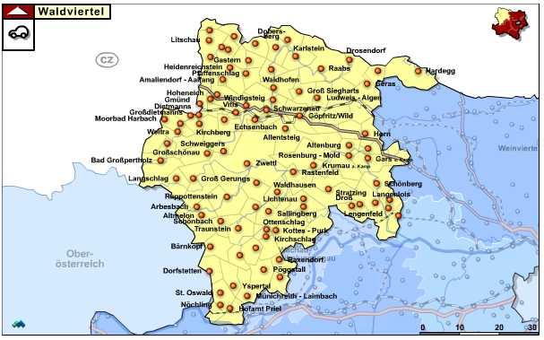 Niederösterreich - Waldviertel overzichtskaart