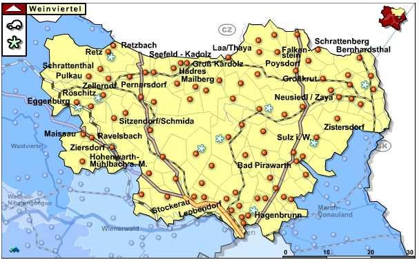 Niederösterreich - Weinviertel overzichtskaart