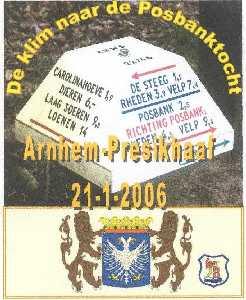 Wandelplaatje van de 40 km lange WS78-wandeltocht  de Klim naar de Posbank tocht vanuit Arnhem op 21 januari 2006
