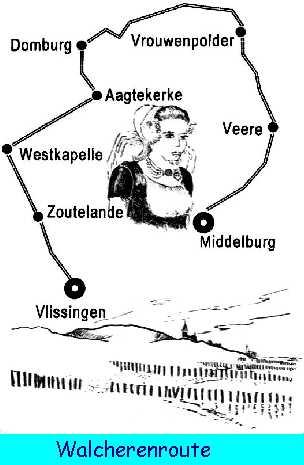 Walcherenroute. In de tijd dat deze wandeling werd gelopen was dit nog een rondwandeling met begin- en eindpunt Middelburg