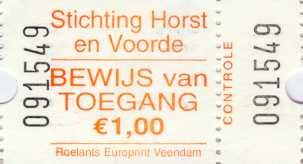 Bewijs van toegang Stichting Horst en Voorde - Wassenaar